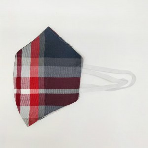 Red and Grey Checkerd Cotton Face Mask