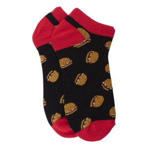 Black and Red Burger Ankle Length Bright Socks