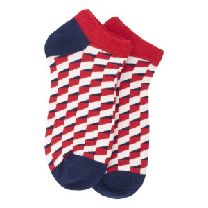 Red and Blue steps Ankle Length Bright Socks