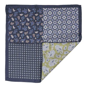 Navy Blue Four in One with Green Paisley 100% Silk reversible Pocket Square