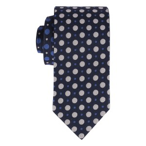 Navy with Grey & Blue Gradual Dots Reversible 100% Silk Necktie