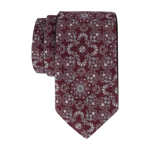 Maroon with Grey Floral Reversible 100% Microfiber Necktie