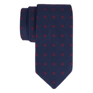 Navy with Red Mini Flower Reversible 100% Microfiber Necktie