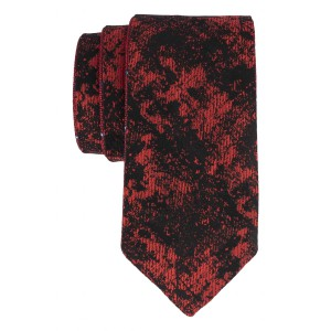 Red with Black Abstract Reversible 100% Microfiber Necktie