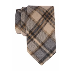 Beige, Grey and Brown Plaid 100% Cotton  Necktie