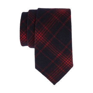 Misty Navy with Red plaid 100% Cotton Necktie