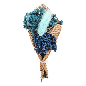 Babys Breath Teal With Blue Feather Wedding Boutonniere
