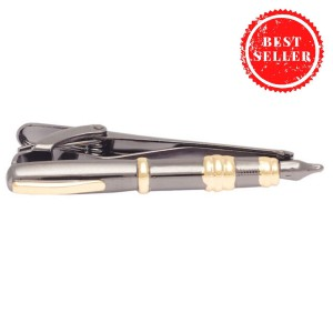 Grey & Gold Fountain Pen Tie Bar