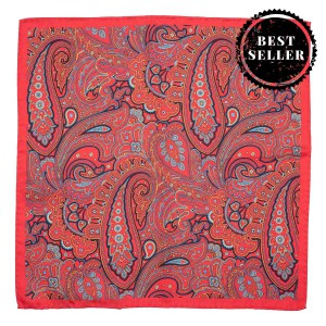 Paisley Printed Red 100% Silk Pocket Square
