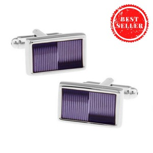 Ribbed Purple Rectangle Cufflink