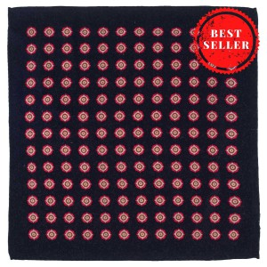 Dotted Hitch Blue 100% Wool Pocket Square