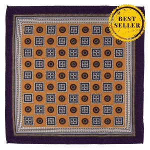 Vexed Geo Yellow Wool Pocket Square
