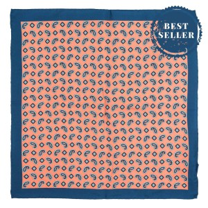 Paisley orange and Blue 100% Silk Pocket Square