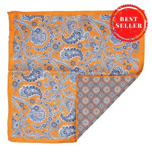Orange Paisley with Rust Flower 100% Silk Reversible Pocket Square