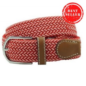 Braid Red and White Elasticated Belt
