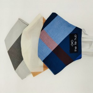 Blue, Orange and Grey Checkered Face Mask Pack of 3