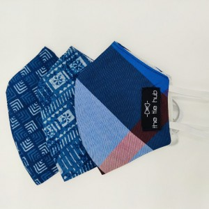 Blue Geometric Print Face Mask pack of 3