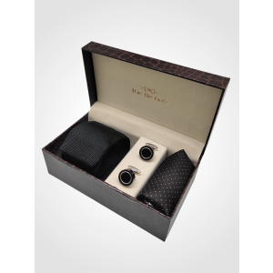 Black Knitted Necktie with Cufflink and Pocket Square Gift Set