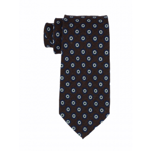 Brown with Blue and Green Polka 100% Silk Necktie