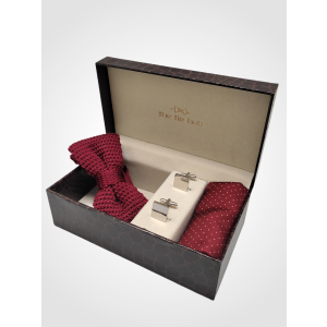 Maroon Knitted Bow Tie with Cufflink and Pocket Square Gift Set