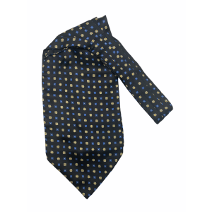 Black with Yellow and Blue Floral Silk Cravat By The Tie Hub