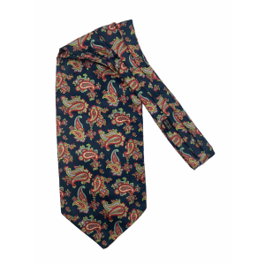 Navy Blue with Fluorescent Paisley Silk Cravat By The Tie Hub