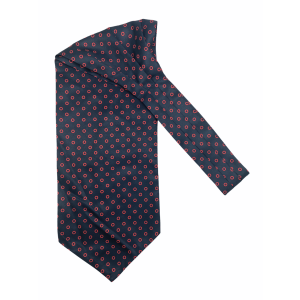 Navy Blue with Red Circle Silk Cravat By The Tie Hub