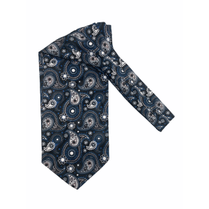 Black with Blue Paisley Silk Cravat By The Tie Hub