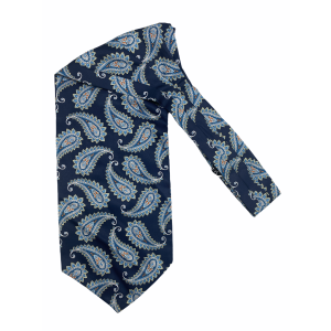Navy Blue with Sky Blue Paisley Silk Cravat By The Tie Hub