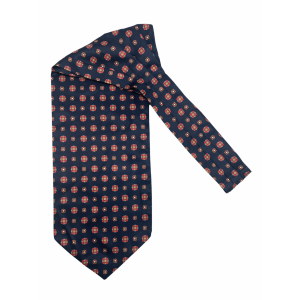 Navy Blue With Red Floral Silk Cravat By The Tie Hub