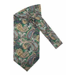Green with Yellow Paisley Silk Cravat By The Tie Hub