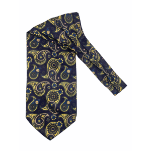 Purple with Yellow Paisley Silk Cravat By The Tie Hub