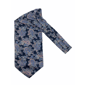 Navy Blue with White Paisley Silk Cravat By The Tie Hub