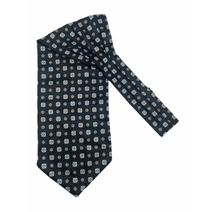 Black with Blue Floral Silk Cravat By The Tie Hub
