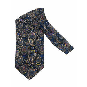 Black with Yellow Paisley Silk Cravat By The Tie Hub
