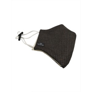 Brown houndstooth Wool Mask