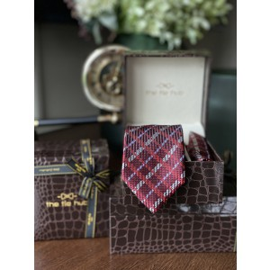 Red Checks Necktie and Pocket Square Combo