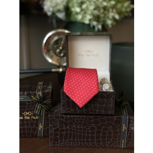 Red Polka dots Necktie and Cufflinks Combo