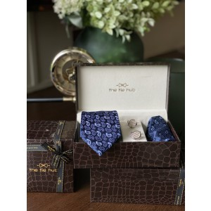 Blue Paisley Necktie,Pocket Square and Cufflinks Combo