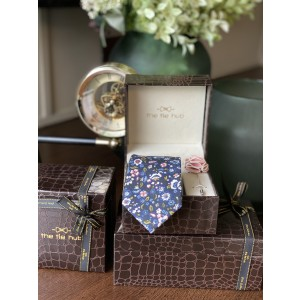 Blue Cotton Floral Necktie with Pink Lapel pin Combo