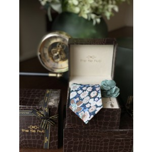 Teal Cotton Floral Necktie with Pink Lapel pin Combo
