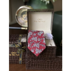 Red Cotton Floral Necktie with Pink Lapel pin Combo