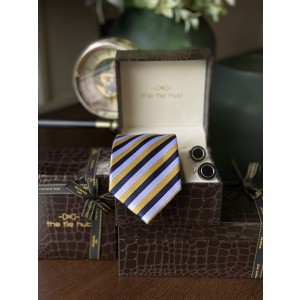 Yellow stripe Silk Necktie with Premium cufflink combo