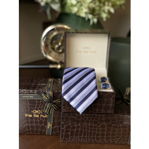 Grey and Blue stripe Silk Necktie with Premium Cufflink combo