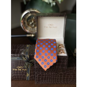 Orange with Blue Bold Dots Silk Necktie with Premium Cufflink combo