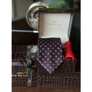Black Beetle Necktie with Red Silk Pocket Square