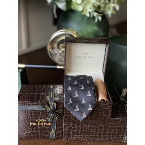 Black Sail Boat Necktie with Gold Silk Pocket Square