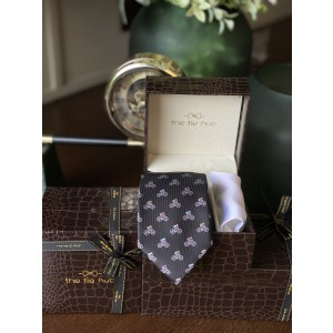Black Bicycle Necktie with White Silk Pocket Square
