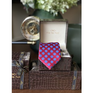 Red with Blue Bold Dots Silk Necktie with Premium Cufflink combo