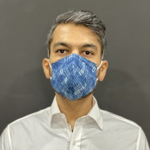 Blue, Grey and Off White Checkered Face Mask Pack of 3